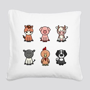 farm animal set Square Canvas Pillow