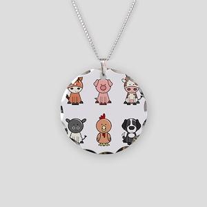 farm animal set Necklace Circle Charm