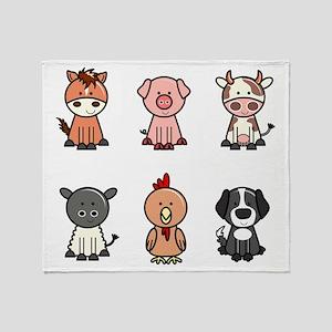 farm animal set Throw Blanket