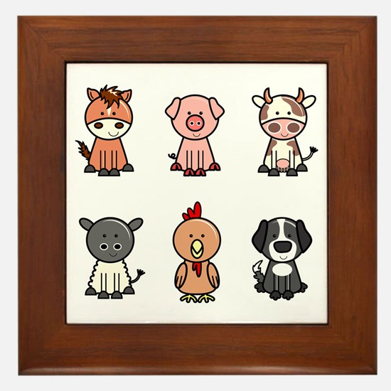 farm animal set Framed Tile