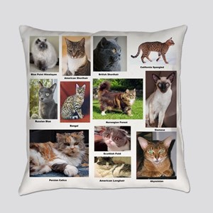 Cat Breed Full Color Everyday Pillow