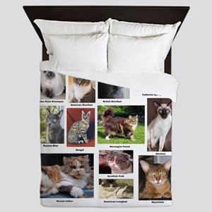 Cat Breed Full Color Queen Duvet