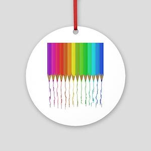 Melting Rainbow Pencils Round Ornament