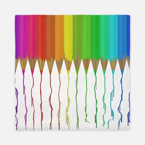 Melting Rainbow Pencils Queen Duvet