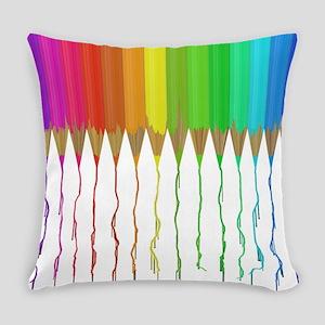 Melting Rainbow Pencils Everyday Pillow