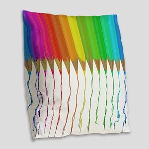 Melting Rainbow Pencils Burlap Throw Pillow