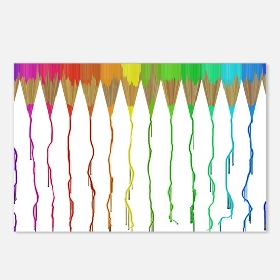Melting Rainbow Pencils Postcards (Package of 8)