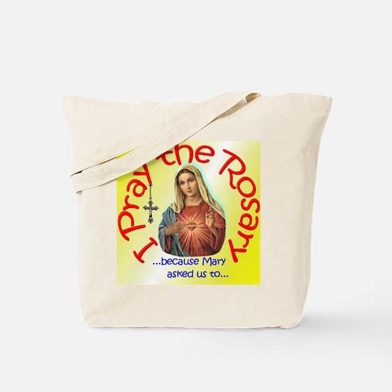 pray_button_6x6_yellow_slant Tote Bag