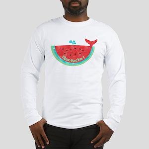 Cute Nantucket Watermelon Whale Long Sleeve T-Shir
