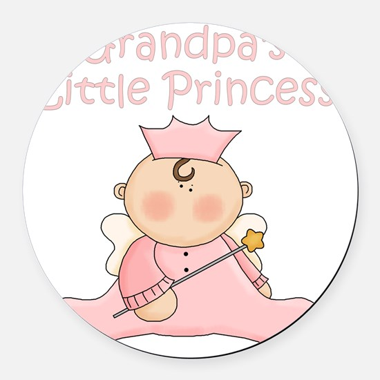 grandpas little princess Round Car Magnet