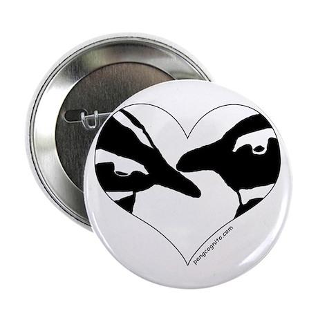"Penguin kiss (heart design) 2.25"" Button (100 pack"