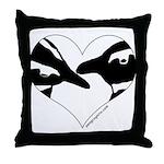 Penguin kiss (heart design) Throw Pillow