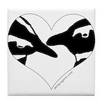 Penguin kiss (heart design) Tile Coaster