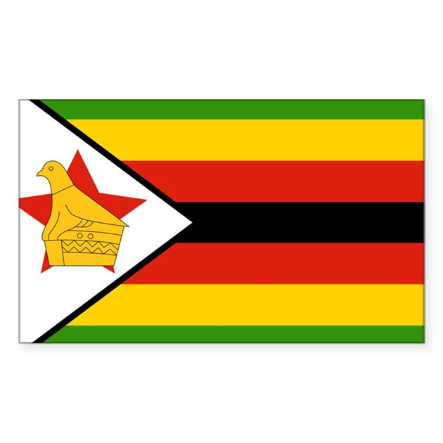 Flag Of Zimbabwe Sticker Rectangle By Worldsoccerstore