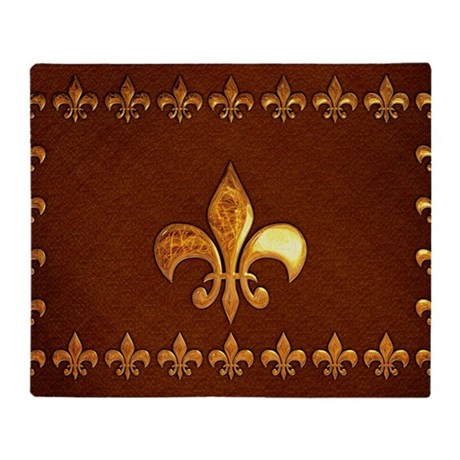Old Leather with gold Fleur-de-Lys Throw Blanket