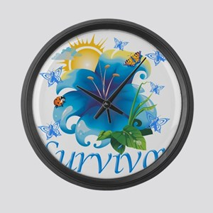 Survivor flower blue Large Wall Clock