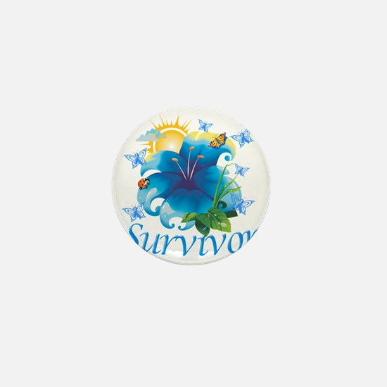 Survivor flower blue Mini Button