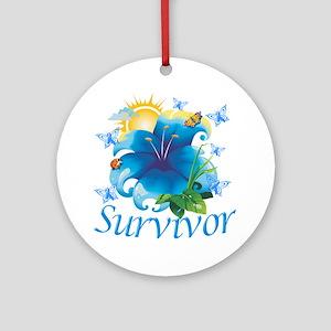 Survivor flower blue Round Ornament