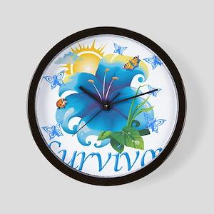 Survivor flower blue Wall Clock