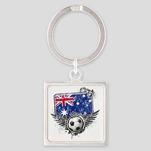 Soccer fans Australia Square Keychain