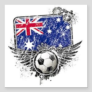 "Soccer fans Australia Square Car Magnet 3"" x 3"""