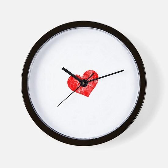 Red Heart -blk Wall Clock
