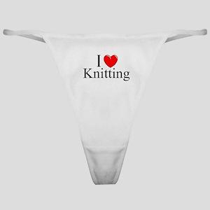 """I Love (Heart) Knitting"" Classic Thong"
