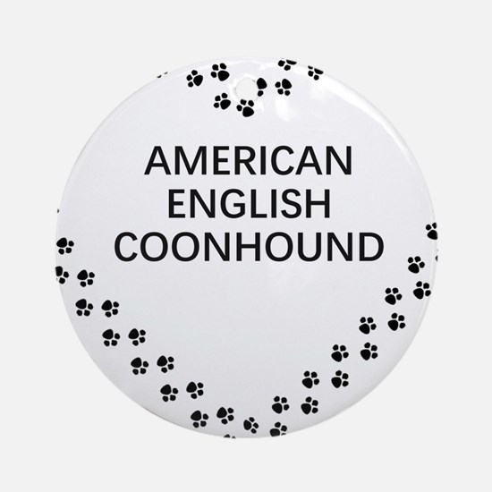 american english coonhound paw heart Round Ornamen