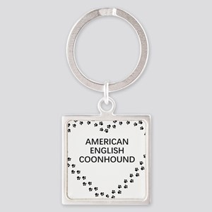 american english coonhound paw heart Keychains