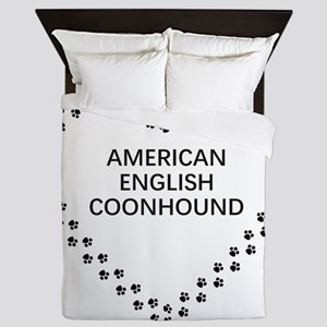 american english coonhound paw heart Queen Duvet