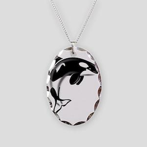 Orca-Dark2 Necklace Oval Charm