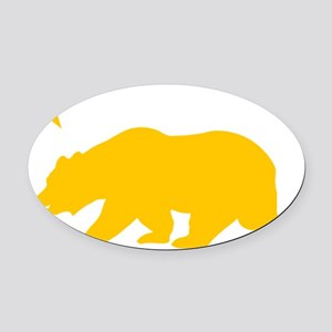 California Bear Yellow2 Oval Car Magnet