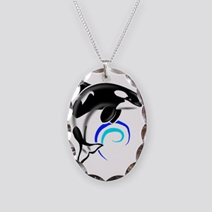 Orca-Darkblue Necklace Oval Charm