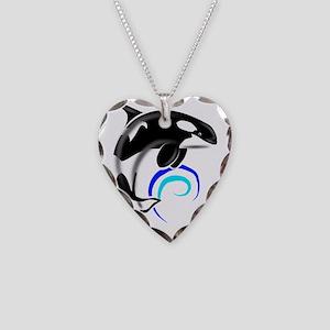 Orca-Darkblue Necklace Heart Charm