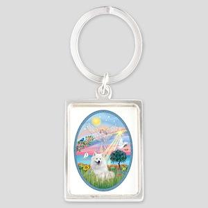Angel Star - American Eskimo Dog Portrait Keychain