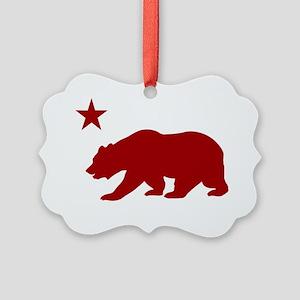 California Bear Red2 Picture Ornament