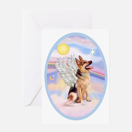 OvOrn-Clouds-German Shepherd 1 Greeting Card
