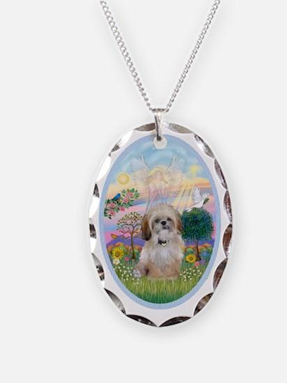 OvOrn-Cloud Angel - Shih Tzu ( Necklace Oval Charm