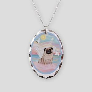 Heavenly Sea-Pug 17 Necklace Oval Charm