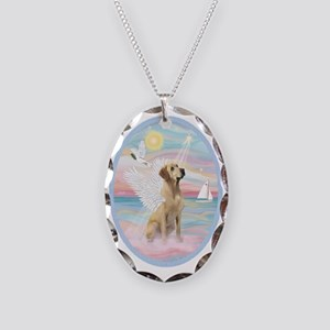 Heavenly Sea-Yellow Labrador Necklace Oval Charm