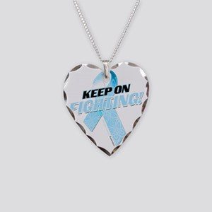 Keep on Fighting Prostate Can Necklace Heart Charm