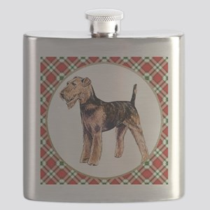 RDORN-airedale-terrier-christmas Flask