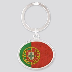 vintagePortugal3 Oval Keychain