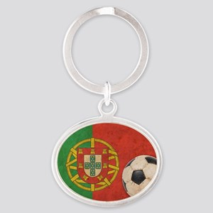 vintagePortugal4 Oval Keychain