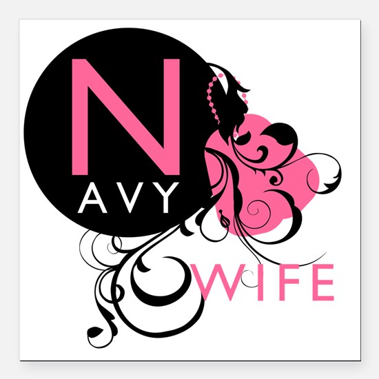 "InitialLadyLikeNavyWife Square Car Magnet 3"" x 3"""