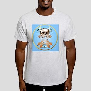 Skull-Guitar-White Rose-circle Light T-Shirt