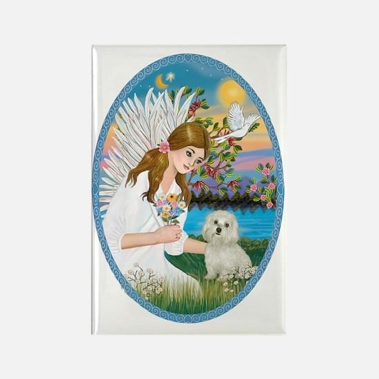 Angel Love - Maltese Rectangle Magnet