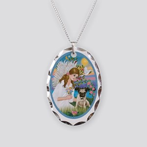 Angel Love - Pug Pup Necklace Oval Charm