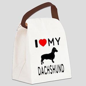 I Love My Dachshund Canvas Lunch Bag