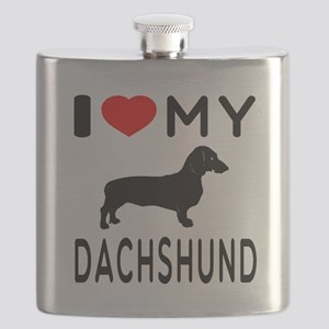 I Love My Dachshund Flask